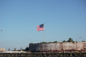 "1813 ""Star Spangled Banner"" flying over Castle Pinckney"